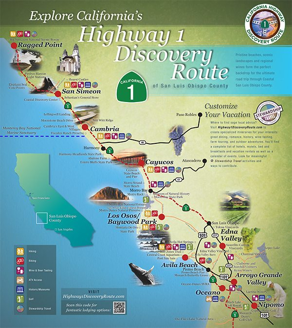 Regional Map Central Coast Road Trip Vacations - Map of california coast