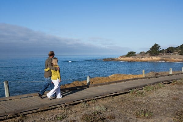 Walking along Cambria Boardwalk